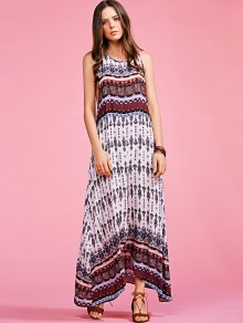 Bohemian Printed Sleeveless Maxi Dress - COLORMIX S