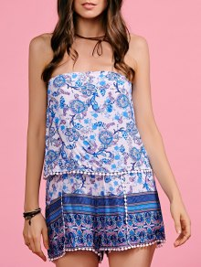 Lace Spliced Strapless Print Romper