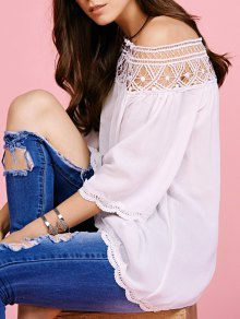 Off The Shoulder Lace Inset Blouse - White