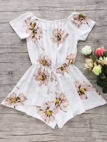 Floral Print Off The Shoulder Drawstring Romper