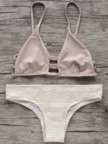 Two Tone Spaghetti Straps Bikini Set - Off-white S