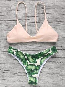 Spaghetti Straps Palm Tree Bikini - Light Apricot Pink