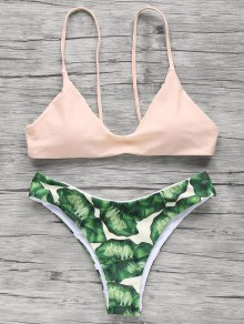 Spaghetti Straps Palm Tree Bikini - Light Apricot Pink