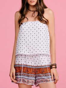 Lace Spliced Print Strapless Romper - Red With White M