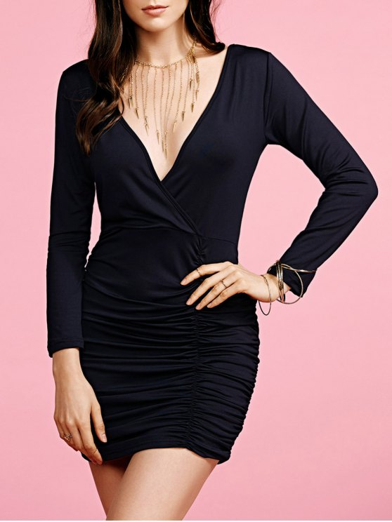 ladies Plunging Neck Ruched Long Sleeve Party Dress - BLACK M