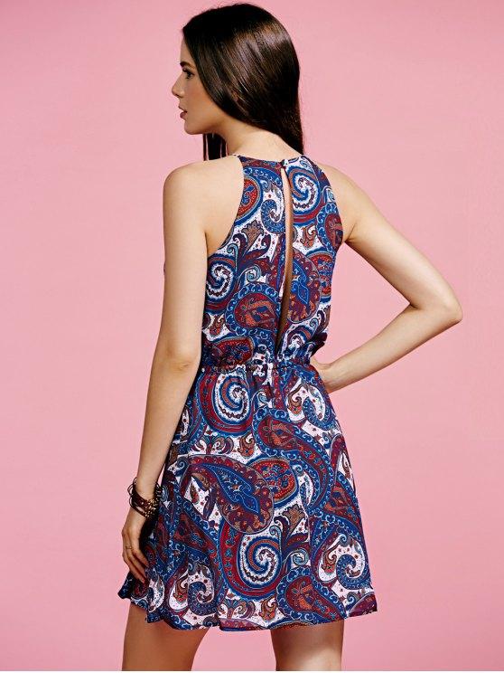 Paisley Print Chiffon Dress - BLUE 2XL Mobile