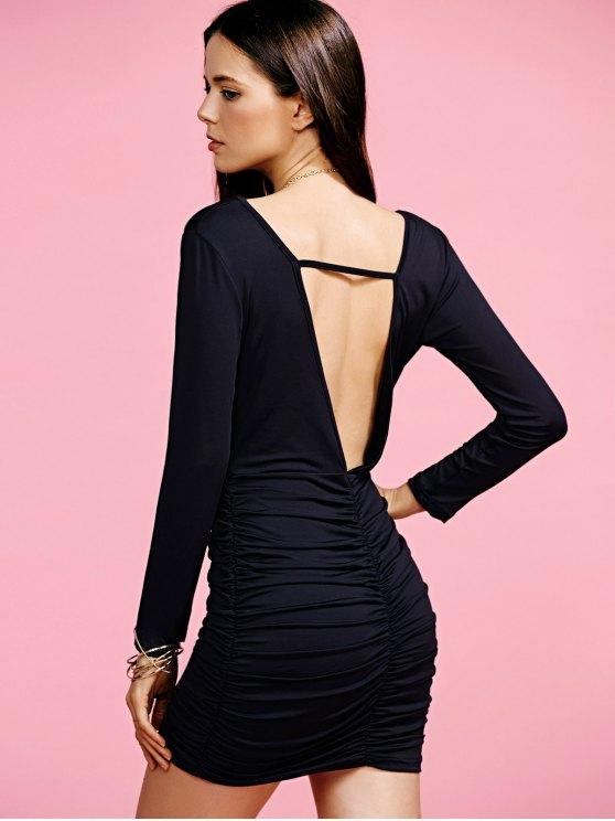 Plunging Neck Ruched Long Sleeve Party Dress - BLACK XL Mobile