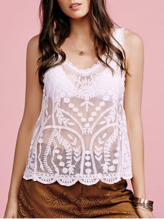 Embroidered See-Through Round Neck Sleeveless Cover Up - WHITE ONE SIZE(FIT SIZE XS TO M) Mobile