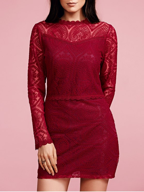 hot Ruffles Long Sleeve Lace Dress - WINE RED S