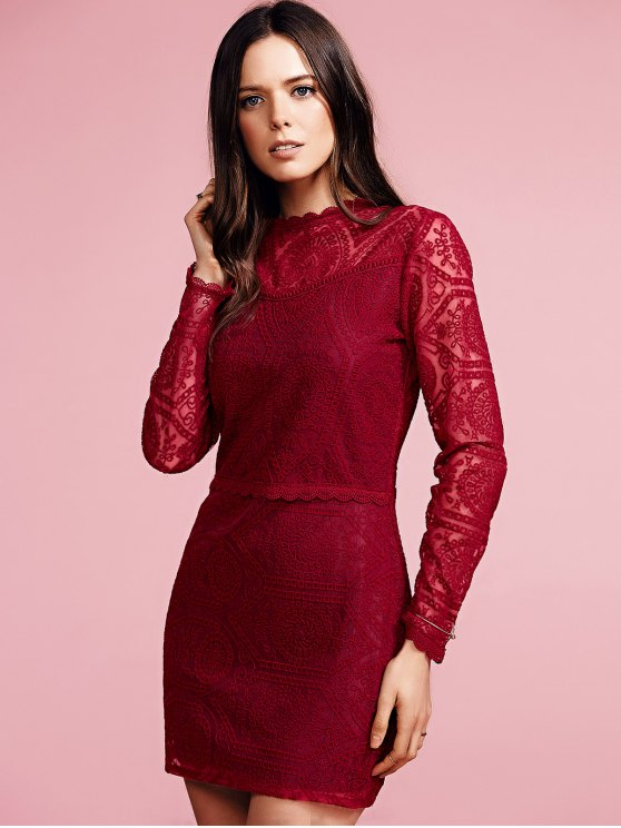 Ruffles Long Sleeve Lace Dress - WINE RED L Mobile