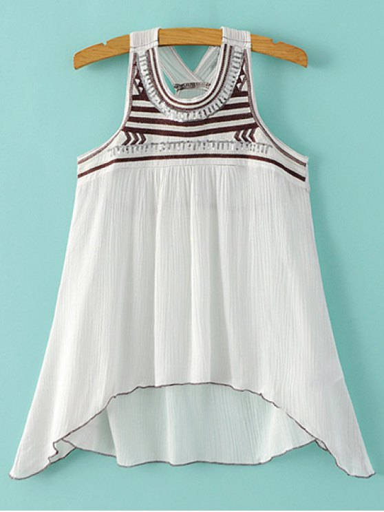 fancy Embroidered Sequins Tank Top - WHITE M