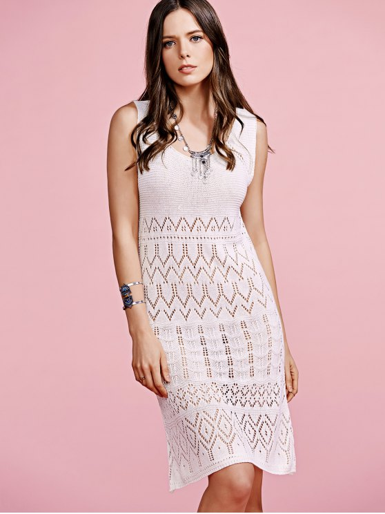 Solid Color Cut Out Round Neck Sleeveless Crochet Dress - OFF-WHITE ONE SIZE(FIT SIZE XS TO M) Mobile