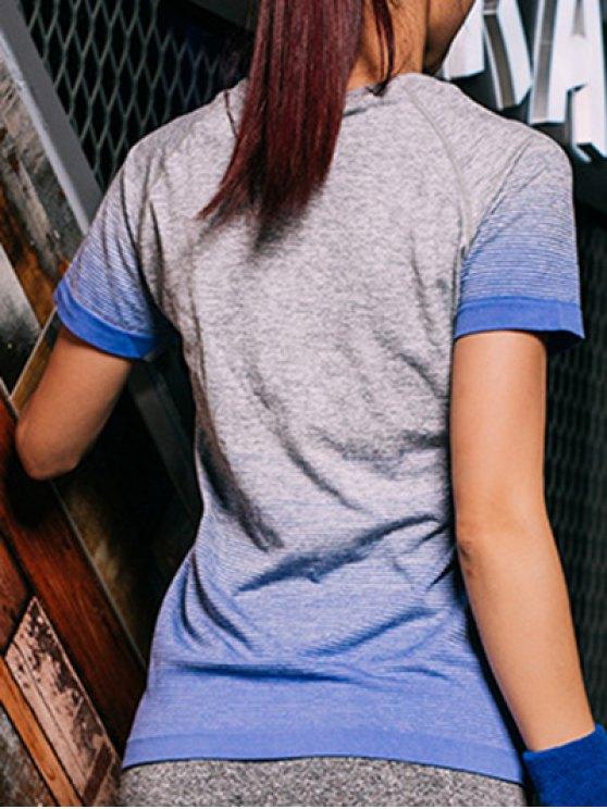 Gradient Color Stretchy T-Shirt - BLUE S Mobile