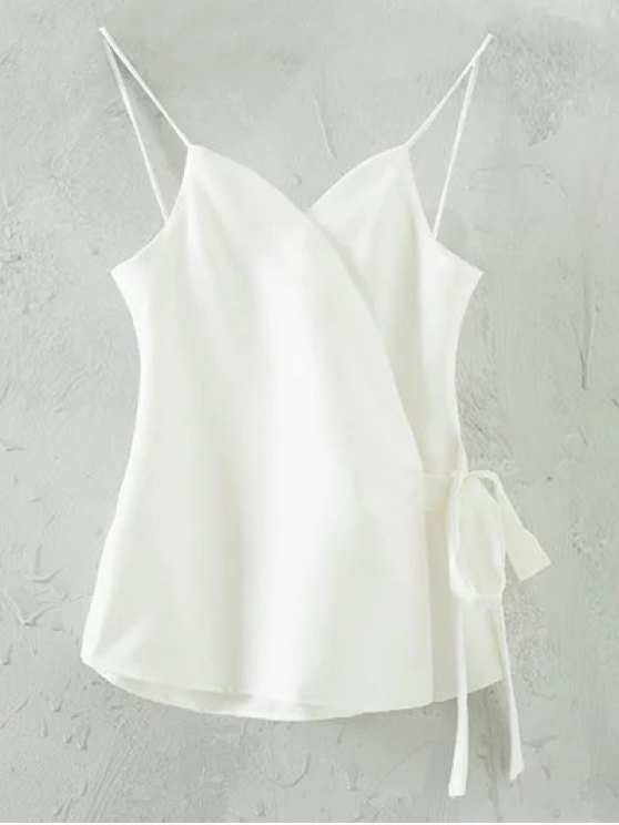 latest Solid Color Wrap Cami Top - WHITE S