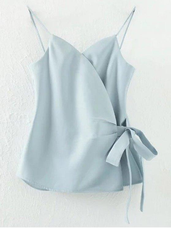 trendy Solid Color Wrap Cami Top - LIGHT BLUE L