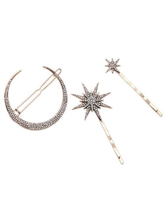 trendy Rhinestone Moon Star Hairpins - GOLDEN