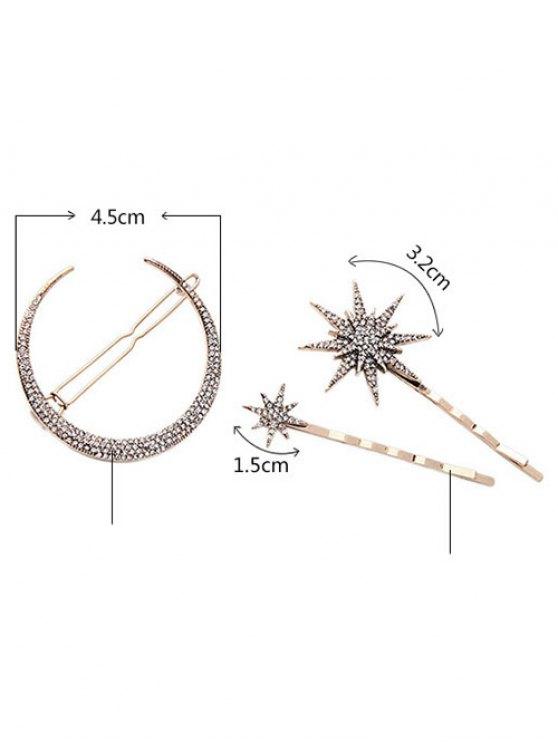 Rhinestone Moon Star Hairpins - GOLDEN  Mobile
