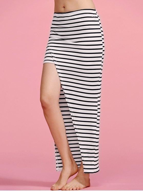 Striped High Waisted Irregular Hem Skirt - STRIPE M Mobile