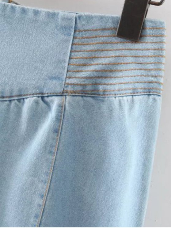 Front Slit High Waisted Denim Skirt - LIGHT BLUE S Mobile