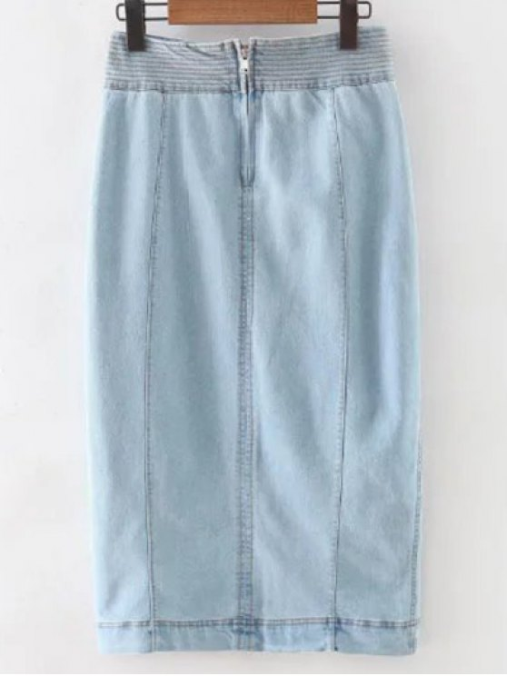 Front Slit High Waisted Denim Skirt - LIGHT BLUE M Mobile