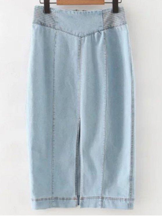 Raja del frente de talle alto dril de algodón de la falda - Azul claro S