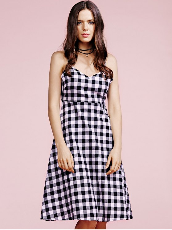 Cami Plaid Dress - WHITE AND BLACK L Mobile