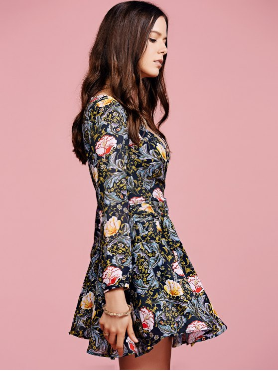 Crossover Collar Floral Dress - COLORMIX XL Mobile