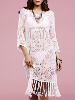 Solide Couleur Fringe Col Rond Manches Longues Crochet Cover Up - Blanc