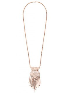 Ethnic Tassel Pendant Necklace - Rose Gold