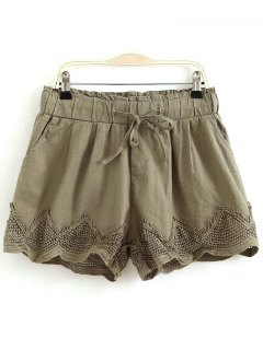Crochet Splice Elastic Waist Drawstring Shorts - Army Green M