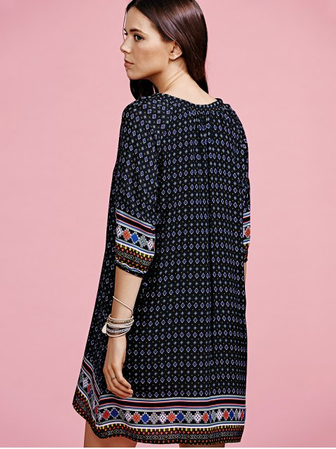 online Ethnic Pattern V-Neck Half Sleeve Dress - BLACK L Mobile