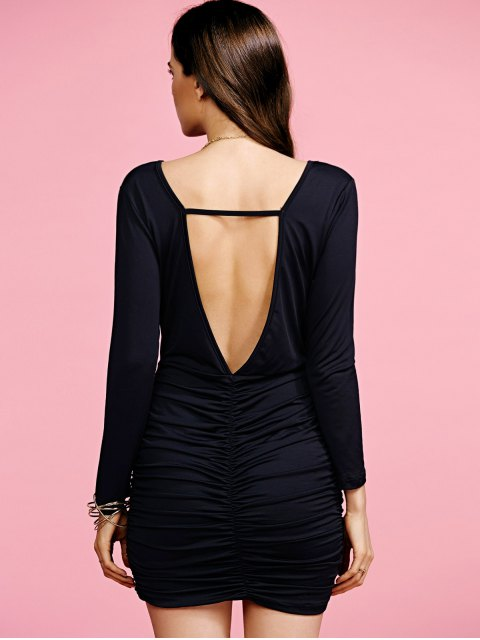women Plunging Neck Ruched Long Sleeve Party Dress - BLACK XL Mobile