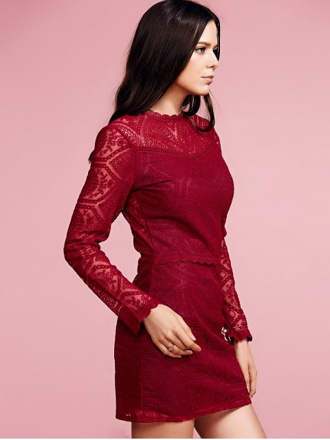 new Ruffles Long Sleeve Lace Dress - WINE RED M Mobile