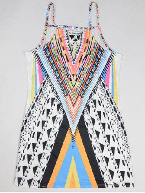 women's Geometric Print Camisole Dress - COLORMIX S Mobile