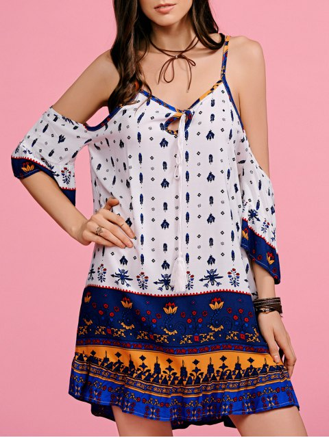 ladies Ethnic Print Cami Off The Shoulder Dress - WHITE M Mobile