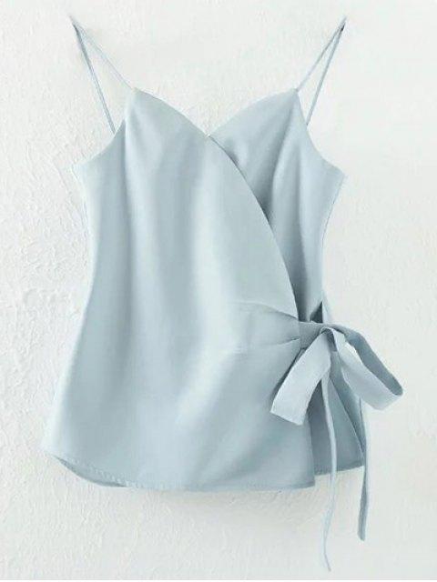 trendy Solid Color Wrap Cami Top - LIGHT BLUE L Mobile