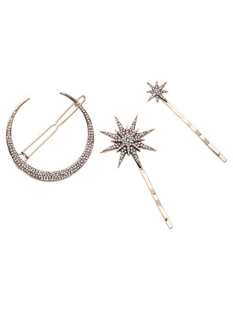 trendy Rhinestone Moon Star Hairpins - GOLDEN  Mobile