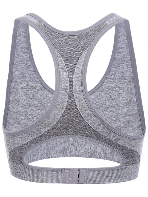 hot Cut Out U Neck Racerback Soprt Bra - GRAY M Mobile