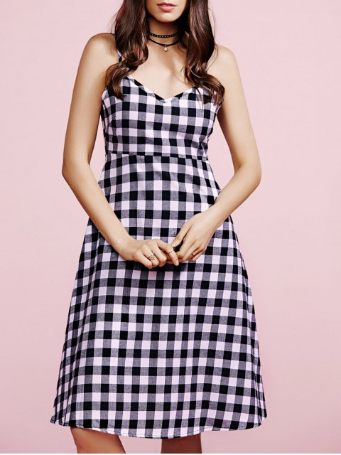 best Cami Plaid Dress - WHITE AND BLACK L Mobile