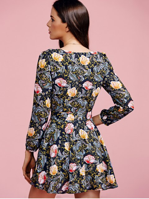 affordable Crossover Collar Floral Dress - COLORMIX XL Mobile
