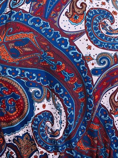Paisley Print Chiffon Dress - BLUE XS Mobile