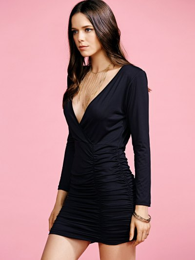 Black Fitted Plunging Neck Sexy Birthday Dresses - BLACK XL Mobile