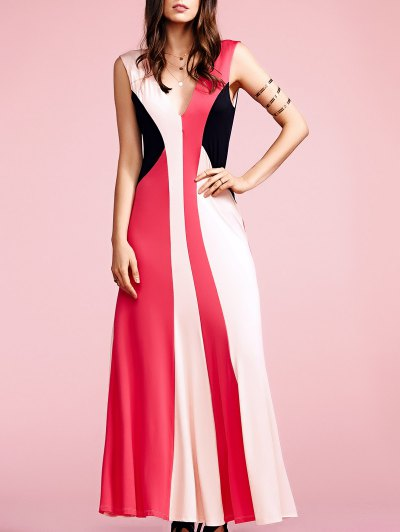 Color Block Plunging Neck Sleeveless Maxi Dress - Red