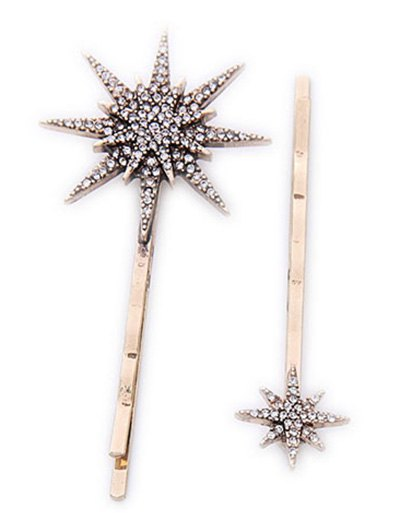 Rhinestone Moon Star Hairpins - GOLDEN  Mobile