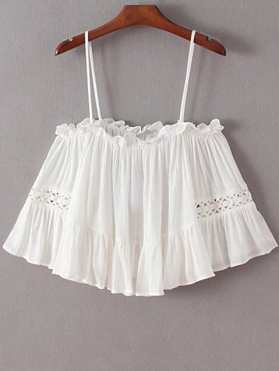 Bare Shoulder Frilly Top - White