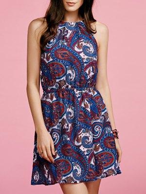Paisley Imprimer Robe En Mousseline De Soie - Bleu
