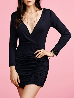 Plunging Neck Ruched Long Sleeve Party Dress - Black