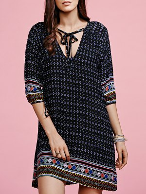 Ethnic Pattern V-Neck Half Sleeve Dress - Black