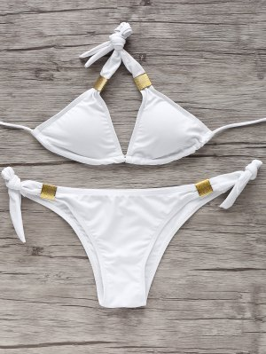 Tie Side Metal Bikini Set - White