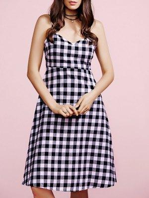 Cami Plaid Dress - White And Black